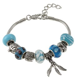 La Preciosa Glass Silverplated Blue Glass Bead and Charm Bracelet