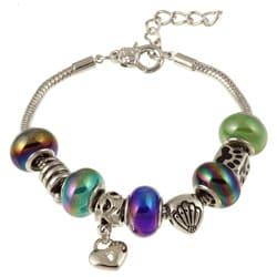 La Preciosa Silverplated Multi-colored Glass Bead and Charm  Bracelet 8044940