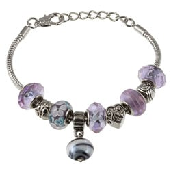 La Preciosa Glass Silverplated Lavender Glass Bead and Charm Bracelet 8044946