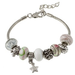 La Preciosa Glass Silverplated Sealife Bead and Charm  Bracelet 8044956