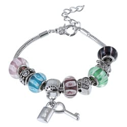 La Preciosa Glass Silverplated Multi-colored Glass Bead and Charm Bracelet 8044978