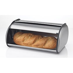 Prime Pacific Brushed Stainless Steel Roll Top Bread Box Bin