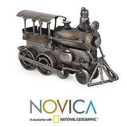 Iron 'Rustic Steam Engine' Sculpture (Mexico)