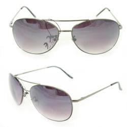 Unisex 25 Grey Metal Aviator Sunglasses