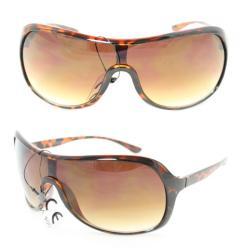 Unisex 592 Leopard Plastic Gradient-Lens Shield Sunglasses
