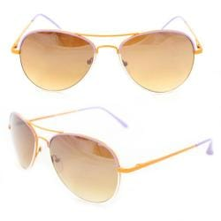 Unisex M09011 Orange/ Purple Metal Aviator Sunglasses