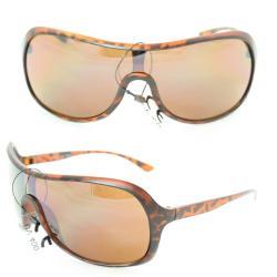 Unisex 592 Leopard Plastic Shield Sunglasses