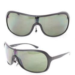 Unisex 592 Black Plastic Shield Sunglasses