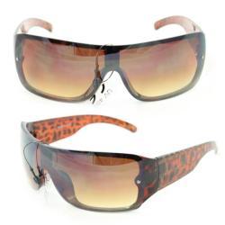 Men's P1490 Brown Leopard Plastic Wrap Sunglasses