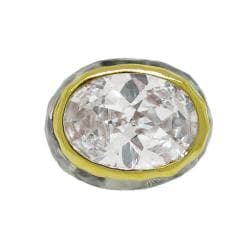 Two-Tone Clear Cubic Zirconia Ring
