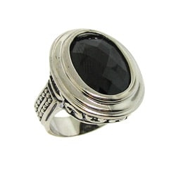 Silvertone Black Cubic Zirconia Filigree Ring