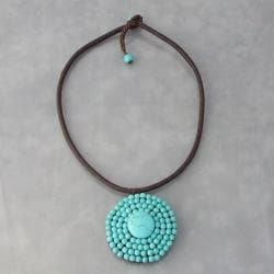 Cotton Rope Round Reconstructed Turquoise Choker (Thailand)