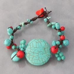 Cotton Rope Round Turquoise and Red Coral Cluster Bracelet (Thailand)