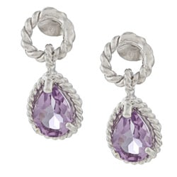 La Preciosa Sterling Silver Amethyst Teardrop Earrings