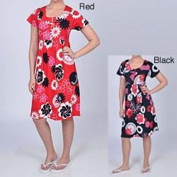 La Cera Women's Floral Button-front Short-sleeve Dress