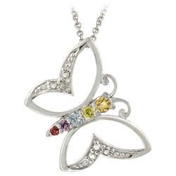 Glitzy Rocks Silver Multi-gemstone/ Diamond Accent Butterfly Necklace