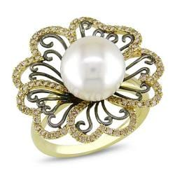 Miadora 14k Yellow Gold FW Pearl and 3/5ct TDW Brown Diamond Ring (10-10.5mm)