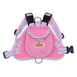 Pet Life Pink and Blue Adjustable Mesh Harness with Velcro Back Pouch