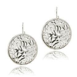 Mondevio Sterling Silver Filigree Disc Dangle Earrings