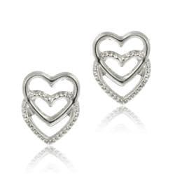 Mondevio 14k White Gold Mini Double Heart Stud Earrings