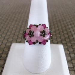 Crystal Pretty Pink Beaded Flower Ring