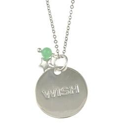 La Preciosa Silver Green Cubic Zirconia 'Wish' Disc and Star Necklace