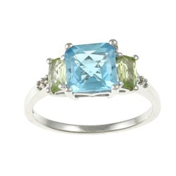 Sofia 14k White Gold Blue Topaz, Peridot and Diamond Accent Ring (K-L, I1-I2)