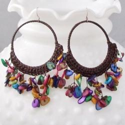 Handmade Cotton Mother of Pearl Chandelier Hoop Dangle Earrings (Thailand) 8092525