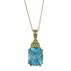 Sofia 14k Blue Topaz and Peridot Necklace