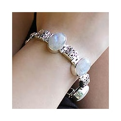 Sterling Silver 'Floral Legends' Moonstone Bracelet (India) moonstone bracelet