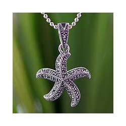Handmade Sterling Silver 'Starfish Dance' Marcasite Necklace (Thailand) 8109464