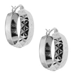 Sterling Silver Diamond-cut Hoop Earrings
