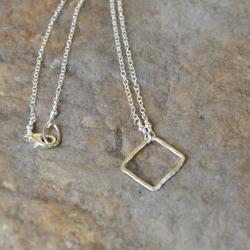 AEB Design Silver Medium Square Ring Necklace