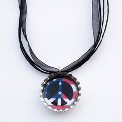 Patriotic Peace Flag Bottle Cap Necklace