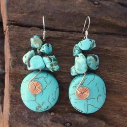 Copper Wired Reconstructed Turquoise Drop Earrings (Thailand)
