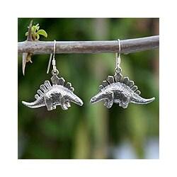 Sterling Silver 'Dinosaur Shield' Dangle Earrings (Thailand)