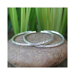 Set of 2 Silver 'Watch Over Me' Cuff Bracelets (Thailand)