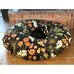 Round 50-inch Black Garden Lily Pet Bed