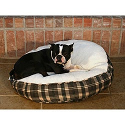 Round 27-inch Green Plaid Sherpa Pet Bed