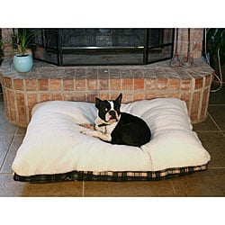 Green Plaid 40-inch Sherpa Top Pet Bed