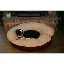 Burgundy 35-inch Microsuede Sherpa Pet Bed
