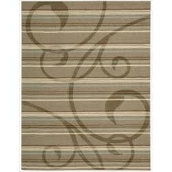 Nourison Hand-tufted Panache Brown Floral Rug (5'6 x 7'5)