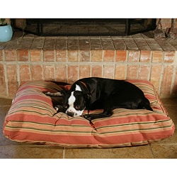 Rectangle Burgandy Stripe Pet Bed