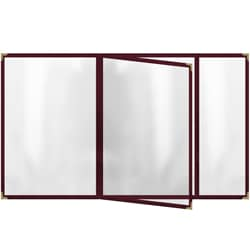 Four-Pocket Vinyl Booklet with Maroon Sewn Edge Menu Covers (Pack of 24)