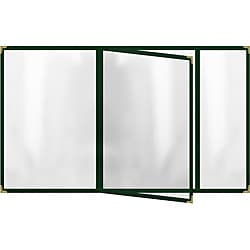 Four-Pocket Vinyl Booklets with Green Sewn-Edge Menu Covers (Pack of 24)