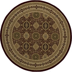 """Westminster Tabriz Red Panel Power-Loomed Rug (7'10"""" x 7'10"""" Round)"""