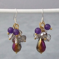 Sterling Silver Amethyst and Rainbow Crystal Drop Earrings (Thailand)