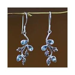 Sterling Silver 'Bali Belle' Blue Topaz Floral Earrings (Indonesia)