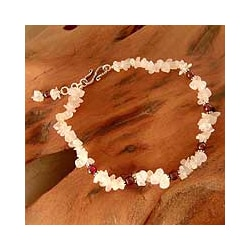 Sterling Silver 'All About Love' Rose Quartz and Garnet Anklet (India)