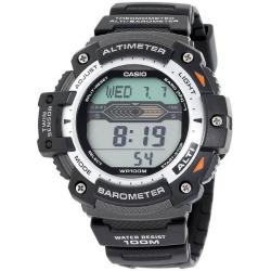 Casio Black-and-silver Digital Water-resistant Twin Sensor Watch